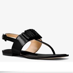 Michael Kors Michelle Thong Patent Leather Sandals